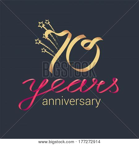 70 years anniversary vector icon logo. Graphic design element with lettering and red ribbon for decoration for 70th anniversary ceremony