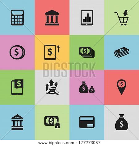 Set Of 16 Editable Investment Icons. Includes Symbols Such As Bucks, Money Card, To Deposit Money And More. Can Be Used For Web, Mobile, UI And Infographic Design.