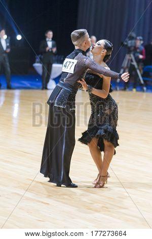 Minsk Belarus-February 19 2017: Dance Couple of Volkov Iliya and Stasyuk Ekaterina Performs Adults Latin-American Program on WDSF Minsk Open Dance Festival-2017 on February 19 2017 in Minsk Belarus.