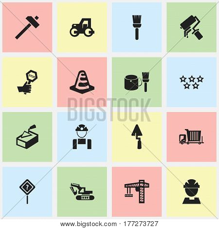 Set Of 16 Editable Construction Icons. Includes Symbols Such As Trowel, Endurance, Brush With Bucket And More. Can Be Used For Web, Mobile, UI And Infographic Design.
