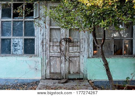 Door of a old wooden house near Black sea