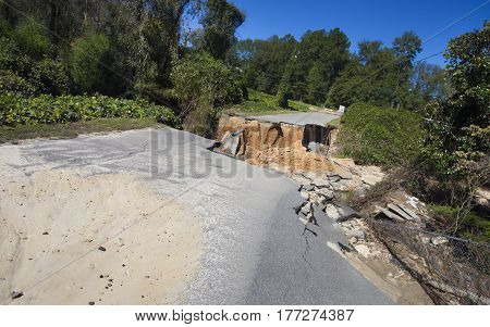 Raeford North Carolina road damage after Hurricane Matthew