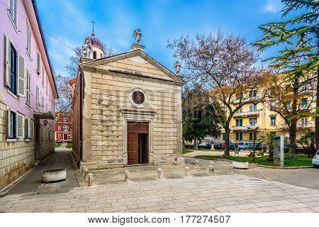 Scenic small church in old town Zadar, Croatia.