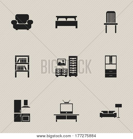 Set Of 9 Editable Interior Icons. Includes Symbols Such As Tv, Cabinet, Lamp And More. Can Be Used For Web, Mobile, UI And Infographic Design.