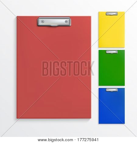 Set of realistic clipboards isolated on white