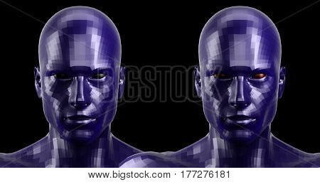 Low poly abstract portrait of a two blue humanoids with black and red eyes . Cybernetic Futuristic Concept for your Design. 3d