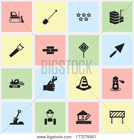 Set Of 16 Editable Construction Icons. Includes Symbols Such As Building, Hands , Stone. Can Be Used For Web, Mobile, UI And Infographic Design.