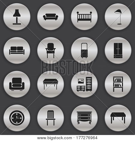 Set Of 16 Editable Interior Icons. Includes Symbols Such As Child Cot, Wall Mirror, Stool And More. Can Be Used For Web, Mobile, UI And Infographic Design.