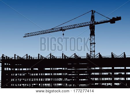 Industrial machinery and the construction crane. Cranes and skyscraper under construction, city skyline at sunset, sunrise Building under Construction site. Vector illustration.