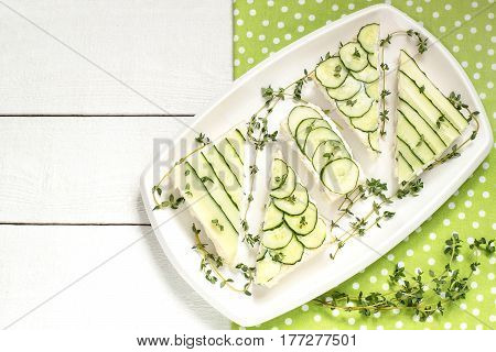 Delicious spring sandwiches with cream cheese fresh cucumbers and thyme leaves on a plate on a white background
