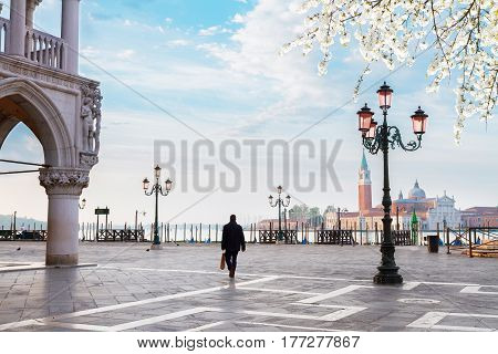 Palace of Doges detail and San Marco square at spring day, Venice, Italy