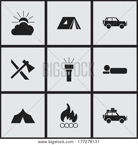 Set Of 9 Editable Trip Icons. Includes Symbols Such As Sunrise, Blaze, Sport Vehicle And More. Can Be Used For Web, Mobile, UI And Infographic Design.