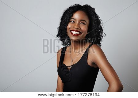 laughing black young model in studio shoot