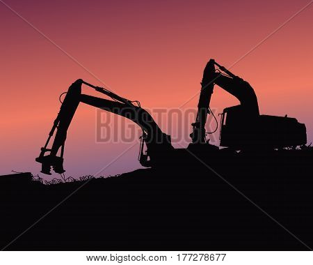 Excavator loaders tractors and workers digging at industrial construction site vector background illustration