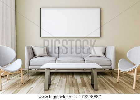 Blank picture frame on the wall in the living room. Interior lamp with chair and work desk. 3D render