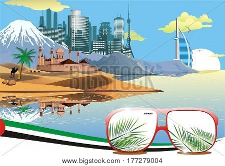Landscape - the Eastern fortress on the coast. Landscape. The ancient fortress on the background of the metropolis. Sandy deserts. Dunes. Mountains on the ocean. Camel caravan in the desert. Vector illustration