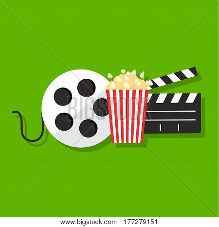 Movie film banner design template. Cinema concept with popcorn, filmstrip and film clapper.  Vector stock.