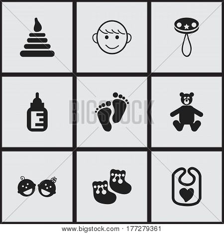 Set Of 9 Editable  Icons. Includes Symbols Such As Pinafore, Tower, Merry Children And More. Can Be Used For Web, Mobile, UI And Infographic Design.