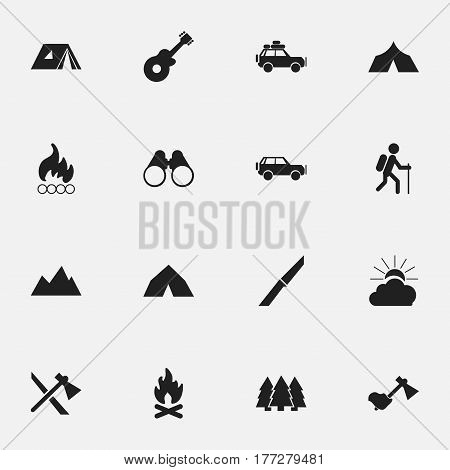 Set Of 16 Editable Trip Icons. Includes Symbols Such As Voyage Car, Refuge, Tepee And More. Can Be Used For Web, Mobile, UI And Infographic Design.
