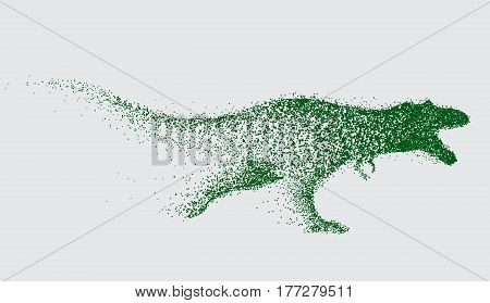 blurred motion of tyrannosaur .Angry predator made by points.Vector animal
