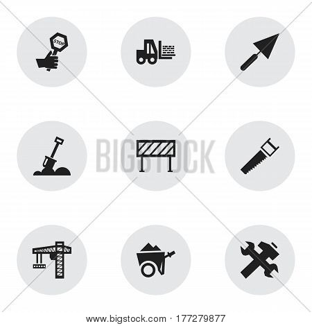 Set Of 9 Editable Building Icons. Includes Symbols Such As Oar, Crane, Plastering And More. Can Be Used For Web, Mobile, UI And Infographic Design.