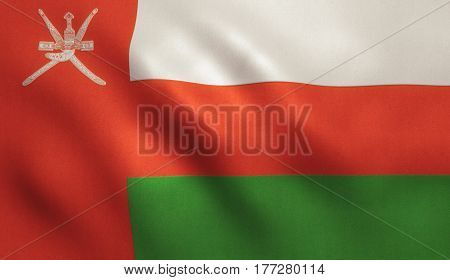 Oman national country flag with fabric texture.