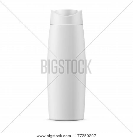 White matte plastic bottle for shampoo, shower gel, lotion, body milk, bath foam. Realistic packaging mockup template. Front view. Vector illustration.
