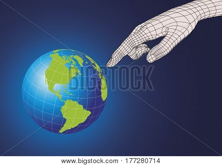 Wireframe futuristic human hand pointing to planet earth. Technology and creationism concept