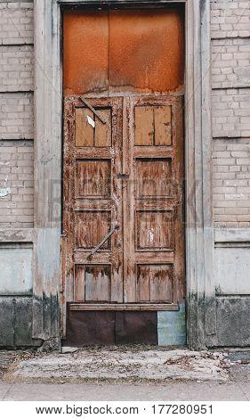 Old Wooden Door In Fake Paint