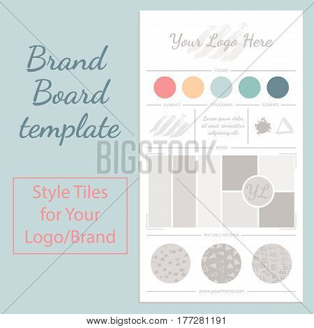 Vector mood board logo template with universal color palette isolated on white background.