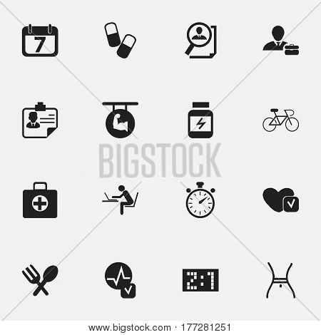 Set Of 16 Editable Mixed Icons. Includes Symbols Such As Drug, Date Block, Search And More. Can Be Used For Web, Mobile, UI And Infographic Design.