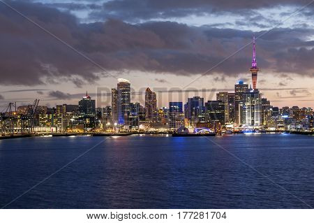 Skyline photo of the biggest city in the New Zealand, Auckland. The photo was taken after sunset across the bay