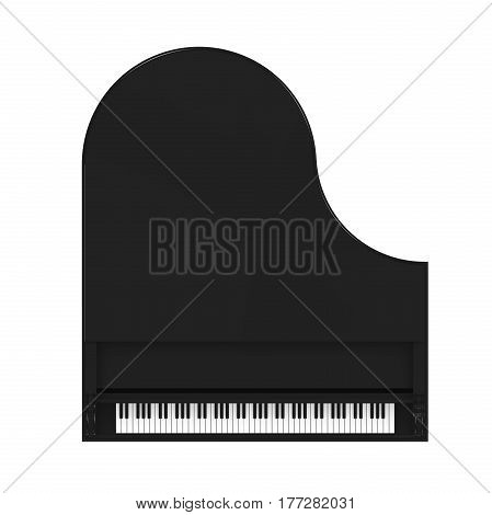 Black Grand Piano isolated on white background. 3D render
