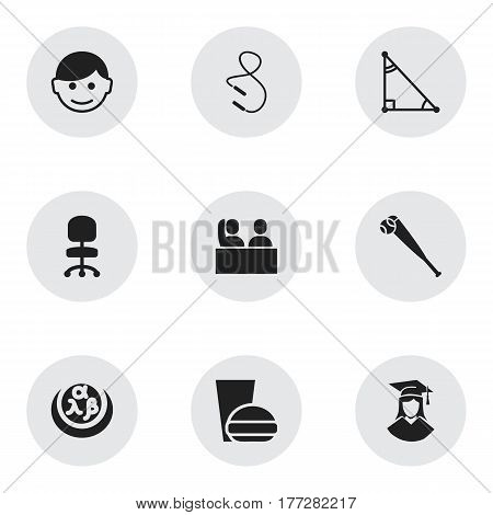 Set Of 9 Editable Graduation Icons. Includes Symbols Such As Bat, Work Seat, Scholar And More. Can Be Used For Web, Mobile, UI And Infographic Design.