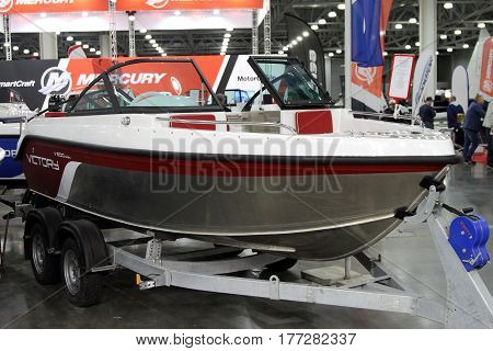 MOSCOW - MARCH 09 2017: Boat Victory 500 open for 10 International boat show in Moscow. Russia.
