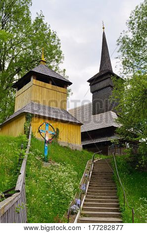 Old wooden Catholic temple. The village of Negrovets, Carpathians, Ukraine, Europe