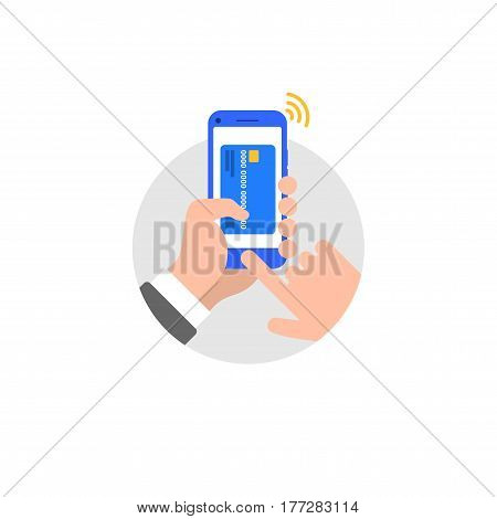 Mobile payments by phone with application from credit card on the screen