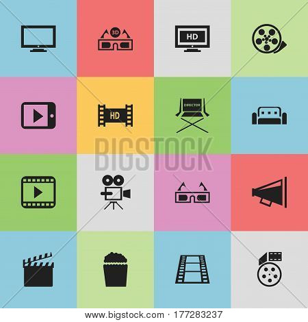 Set Of 16 Editable Movie Icons. Includes Symbols Such As Hd Screen, Hd Tape, Cinema Snack And More. Can Be Used For Web, Mobile, UI And Infographic Design.
