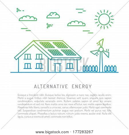 The concept of using alternative renewable energy sources are drawn in a linear style, isolated on white background. The use of wind energy to generate electricity.