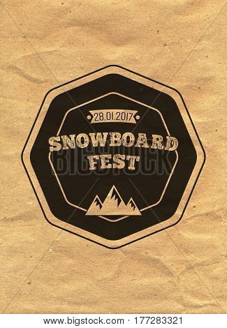 Snowboard Vintage Circled Logotype On Kraft Paper Background