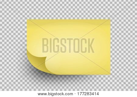 Vector realistic sticky note on the transparent background.