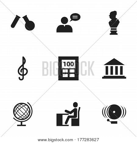 Set Of 9 Editable Science Icons. Includes Symbols Such As Earth Planet, Quaver, Phial And More. Can Be Used For Web, Mobile, UI And Infographic Design.