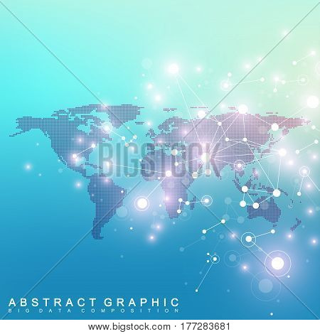 Geometric graphic background communication with dotted World Map. Big data complex. Particle compounds. Network connection, lines plexus. Minimalistic chaotic design, vector illustration