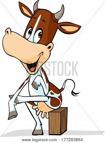cute cow sitting leg over leg - funny vector cartoon illustration