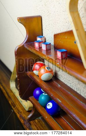 balls for a game of pool billiards on shelves. Billiard sport concept. American pool billiard. Pool billiard game.