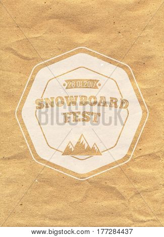 Snowboard Vintage Circled Logotype On Kraft Paper Background