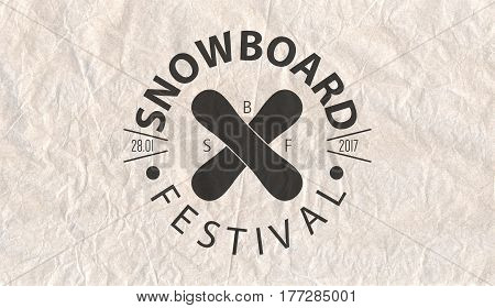 Snowboard Vintage Circled Logotype On Parchment Paper Background