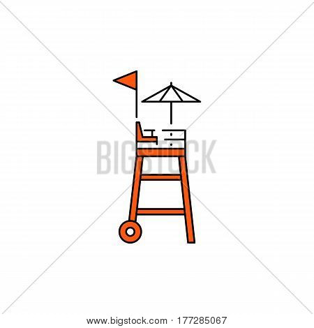 Flat vector icon rescue towers in cartoon style isolated on white background. Orange rescue rig equipment for rescue of drowning