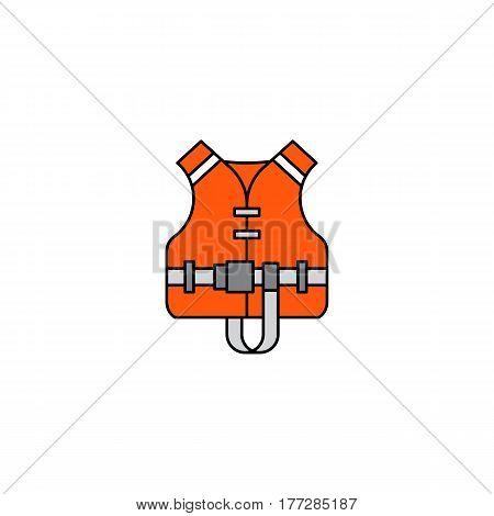 Flat vector icon life jacket in cartoon style isolated on white background. Orange rescue life jacket equipment