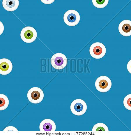 Eyes seamless pattern on blue background. Eyeballs iris concept vector illustration.